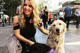 Rachael Leahcar with guide dogs.