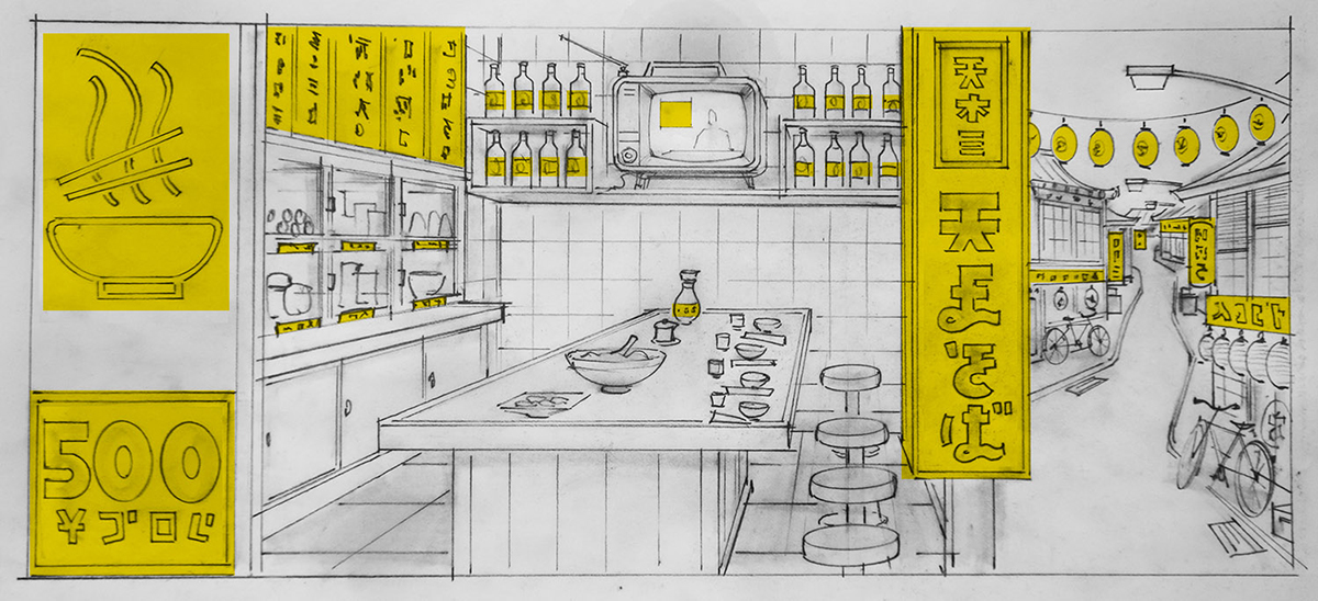 Scan of pencil drawn storyboard of noodle bar scene from stop-motion animation Isle of Dogs.