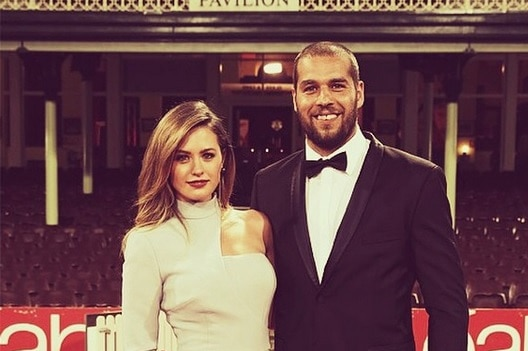 Jesinta Campbell and Buddy Franklin at the Brownlow Medal in 2014.