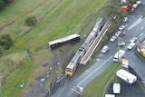 A birds eye view of the train on the tracks