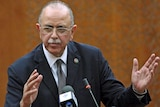 Libya's newly elected interim prime minister Abdul Raheem al-Keeb speaks during a news conference in Tripoli