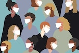 Illustration of a crowd of people wearing face masks.