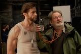 Don McAlpine and Hugh Jackman on the set of Wolverine.