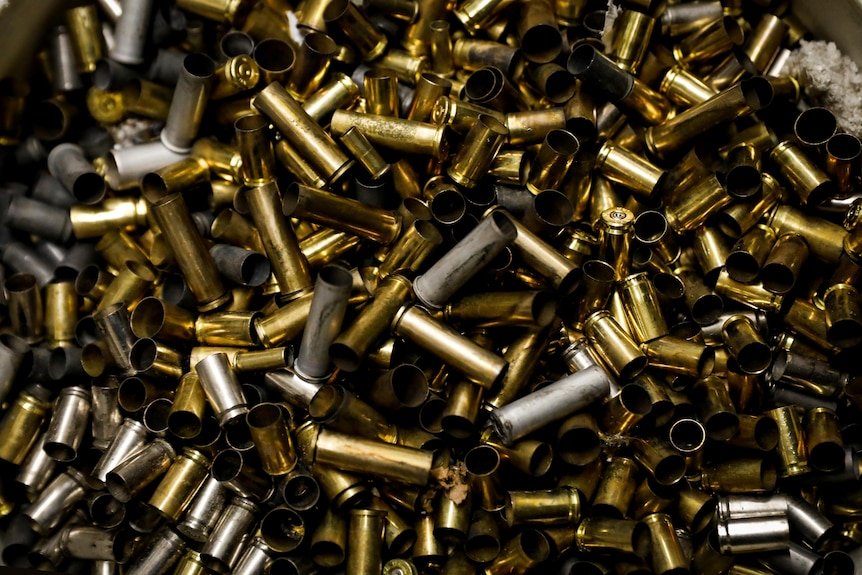 A pile of bullet shell cases.