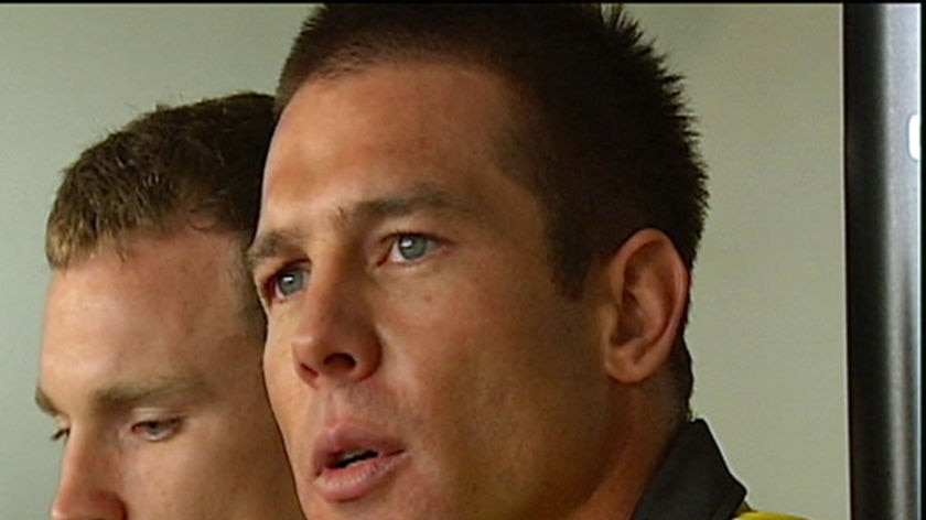 Ben Cousins speaks to the media after training with Richmond for the first time.