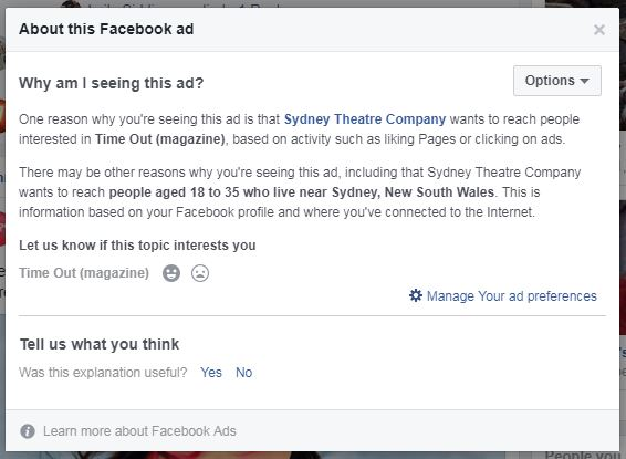 Facebook ad explanation box.