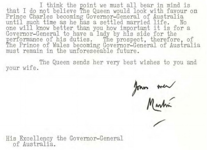 The Queen didn't want Prince Charles becoming Governor-General of Australia.