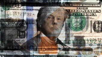 A graphic of Donald Trump on an American $100 note