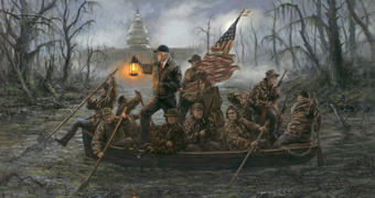 Donald Trump and members of his administration row a boat across a swamp in front of the White House.