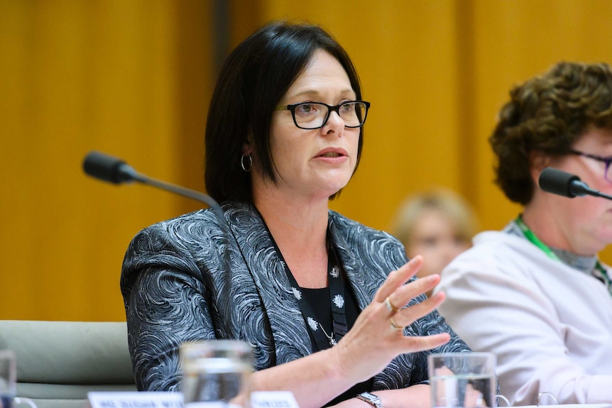 Linda Geddes, wearing glasses and a blazer with a swirly pattern, speaks while sitting at a table at an official hearing.
