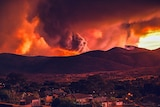 Bushfire and red sky with houses in the foreground.