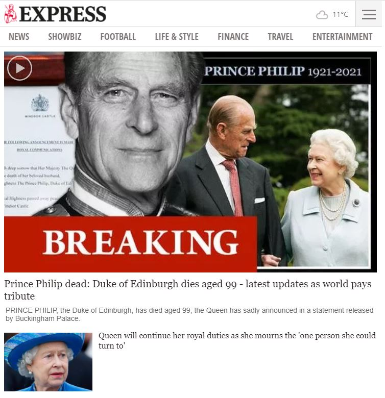 Express website after the death of Prince Philip.