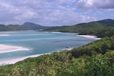 National park forest, beach and ocean in the Whitsundays region in north Qld.