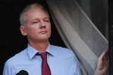 WikiLeaks founder Julian Assange looks from the balcony of the Ecuadorian embassy in London