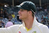 Steve Smith waves to the crowd after clinchin the Ashes