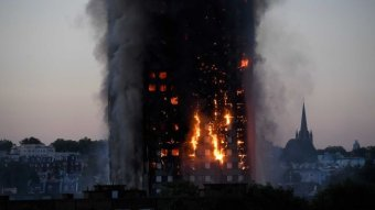 Grenfell tower on fire.
