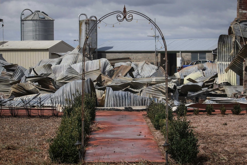 A decorative arch is all that is left of a house at Cobden, Victoria.