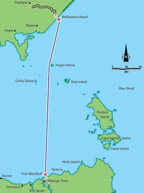 The Basslink interconnector links Tasmania to the national grid via Victoria.