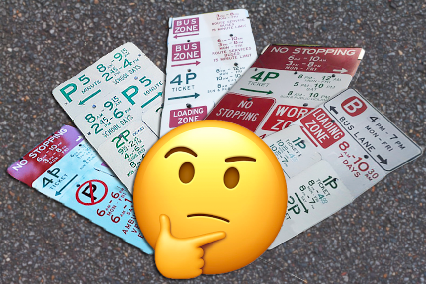 thinking emoji with five different sets of confusing parking signs in the background