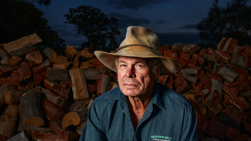 A man in a hat and green shirt sits in front of a log of woods under a darkening sky.