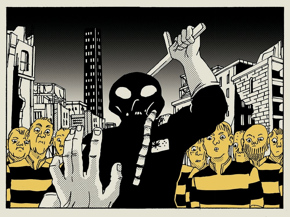 In b&W and yellow illustration, a group in striped prison uniforms watch a WWI masked guard with raised baton in cityscape.