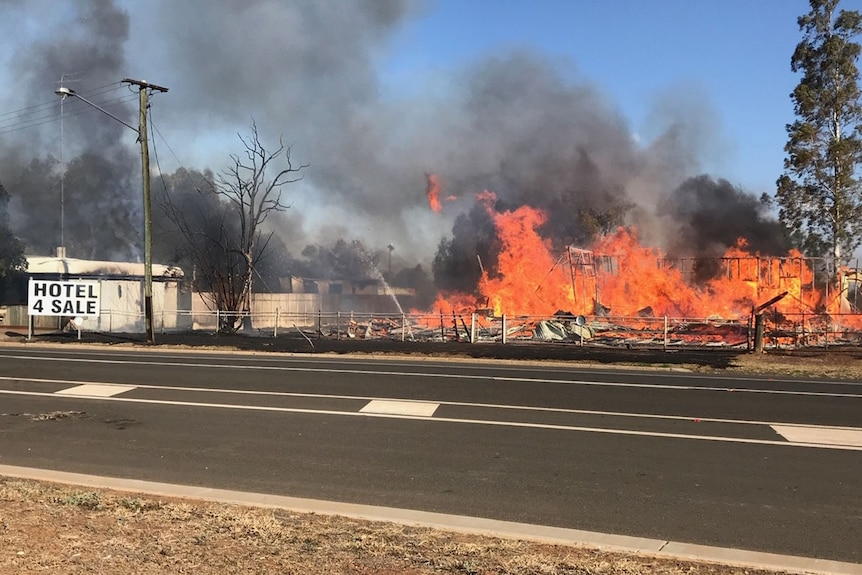 A building being destroyed by fire