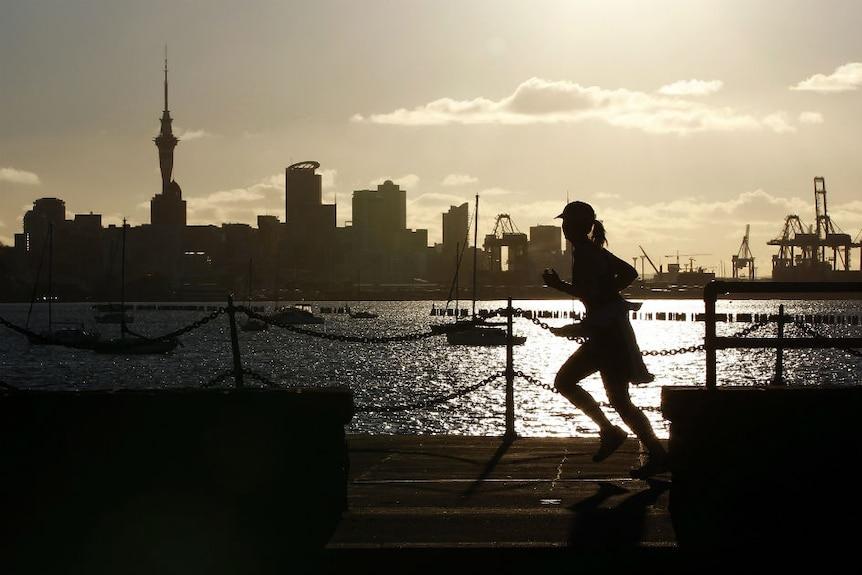 Auckland city at sunrise