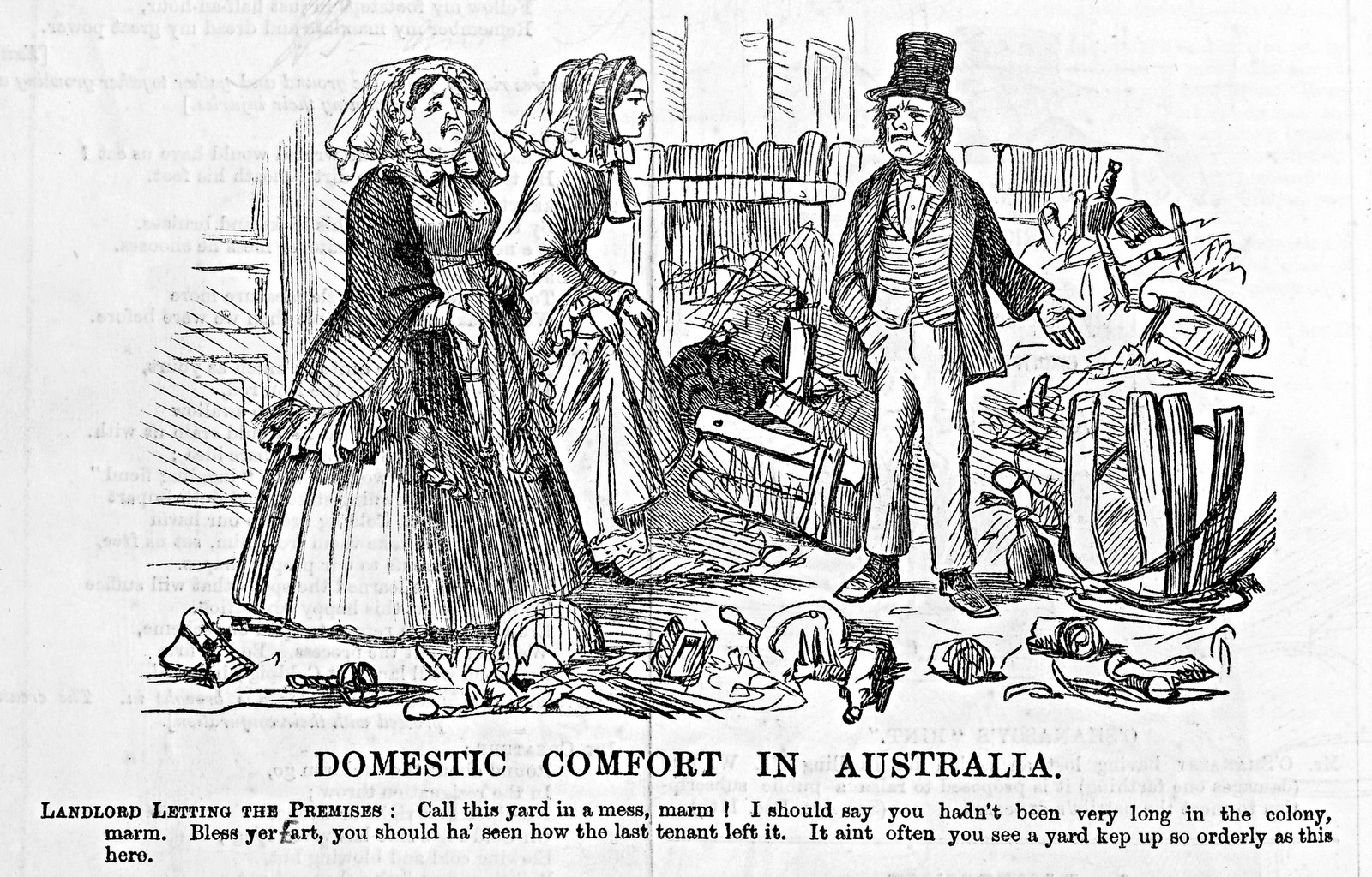 A cartoon showing two women disgusted at rubbish in a backyard.