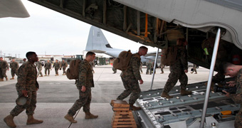 US Marines board plane headed to Philippines