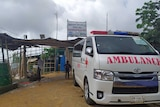 An ambulance parked out the front of the Bazar refugee camp.