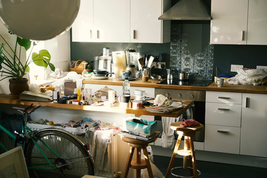 Messy apartment with countertops covered in clutter.