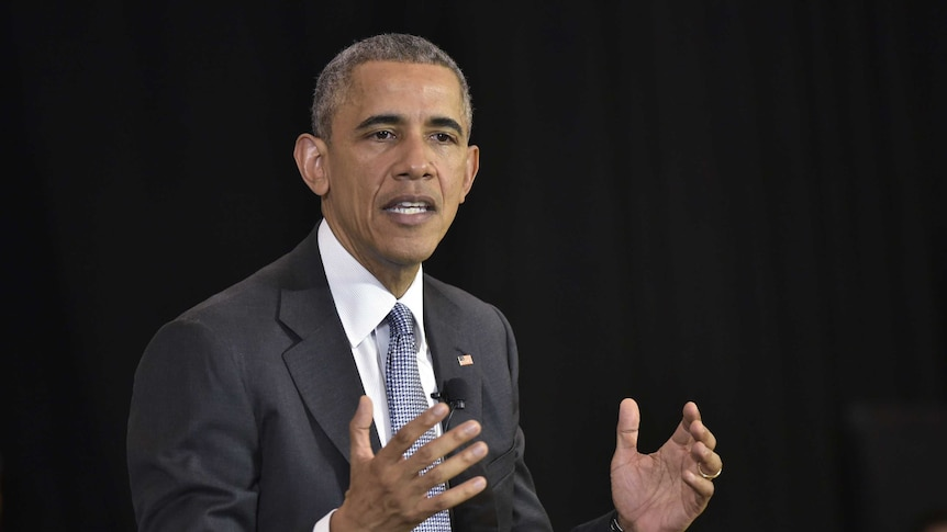President Barack Obama takes part in a discussion on the Supreme Court.