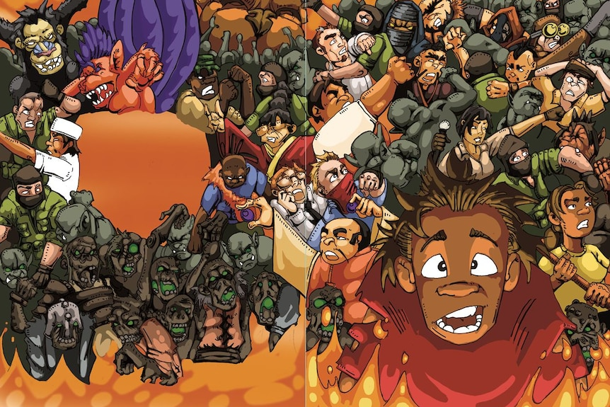 An image showing demons attacking from graphic novel Ubby's Underdogs