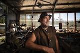 Dale 'Hairy Man' Fullard in his shed.