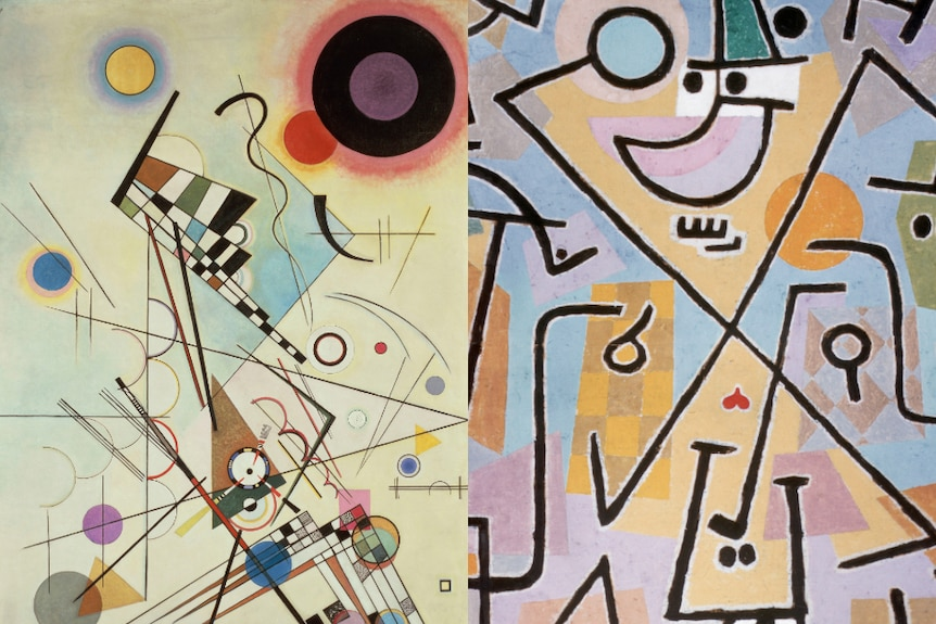 Two paintings from Bauhaus artists: Composition, by Wassily Kandinsky, and Caprice in February by Paul Klee.