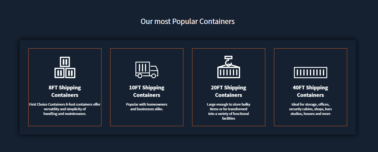 Dark background.  Four white square boxes each list a service First Choice Containers provides.
