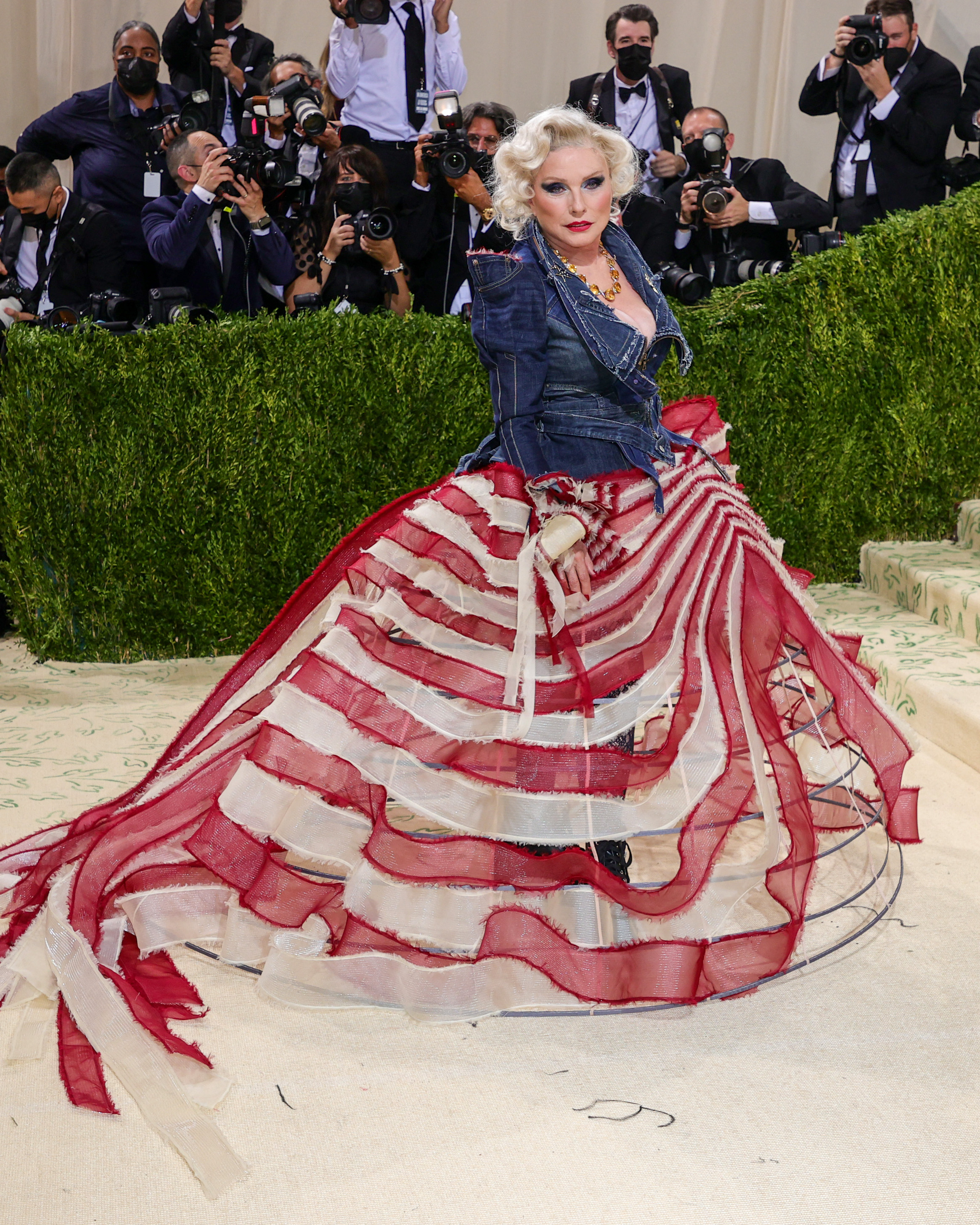 Debbie Harry wears a ball gown made from recycled denim.