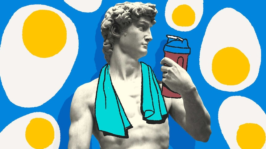 Statue of David with protein shake and surrounded by eggs for a story about getting enough protein.