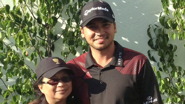 Dening Day standing with her son Jason Day in Melbourne.