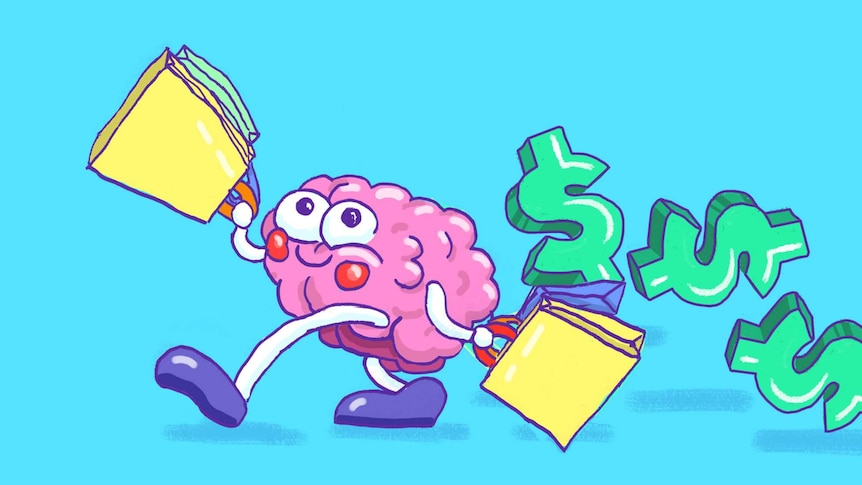 Illustration of a brain with googly eyes holding lots of shopping bags, with dollar signs trailing behind.