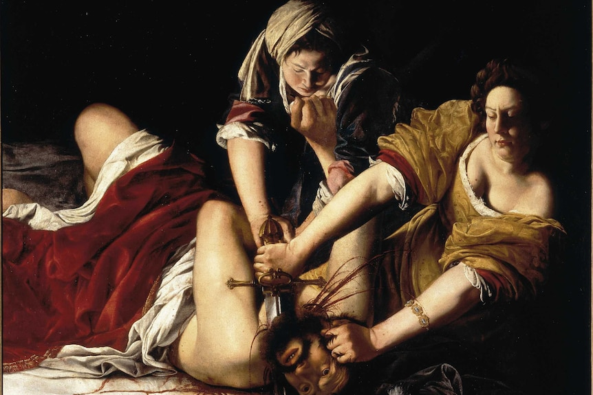 Painting of Judith Slaying Holofernes by Artemisia Gentileschi, located in the Vasari Corridor in Florence.
