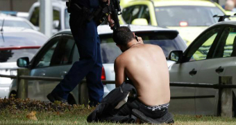 Mosque shooting man kneeling