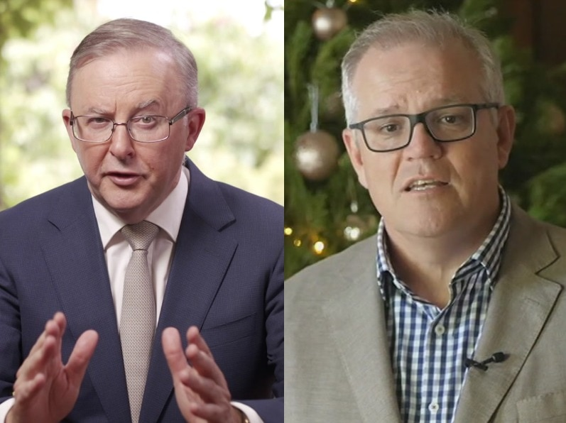 A composite image of two white men with grey hair and glasses side by side, the one on the right is in front of a christmas tree