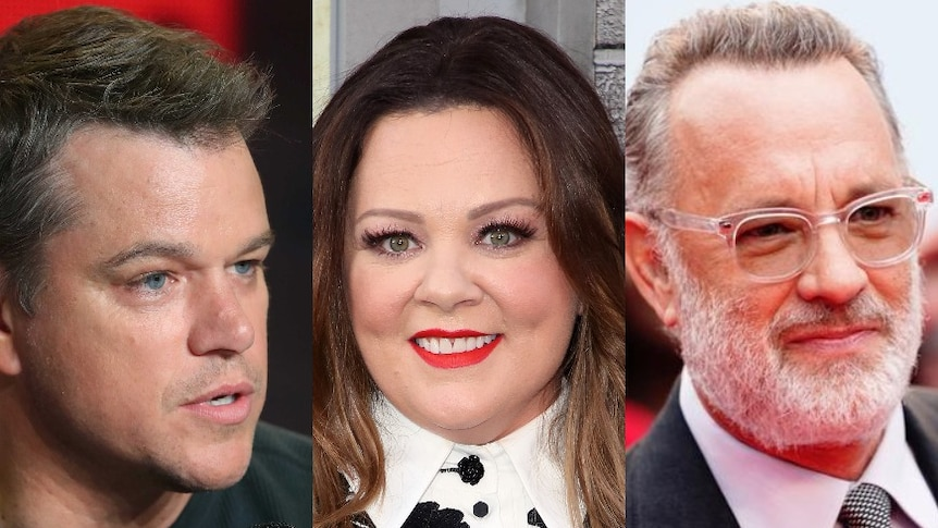 Headshots of Matt Damon, Melissa McCarthy and Tom Hanks.