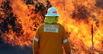 A man in orange firefighting uniform stands with his back to the camera, facing a wall of fire.