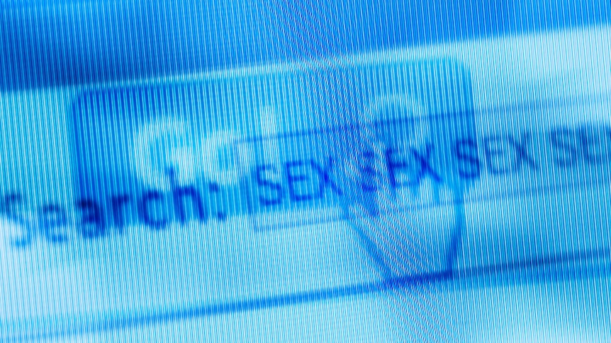 """A montage of online screens with the word """"sex"""" repeated."""