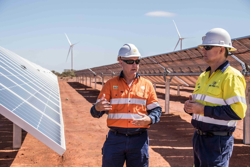 Two men wearing high-vis workwear standing among solar panels at a renewable energy project.