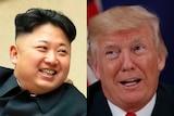 A composite of North Korea leader Kim Jong-un next to US President Donald Trump.