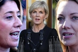 A montage of headshots of Rita Saffioti, Julie Bishop and Mia Davies