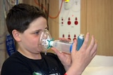 Brennan McAloon was rushed to the Royal Children's Hospital with asthma on Monday night.